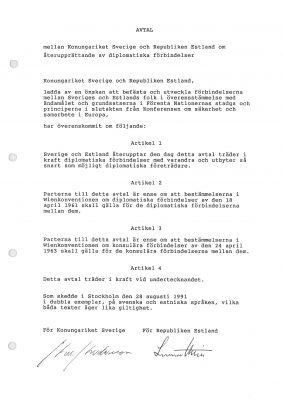 Avtal om aterupprättande av diplomatiska förbindelser. Foto: Estlands utrikesdepartementet.