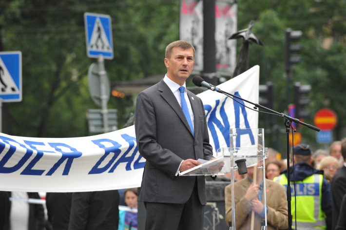 Firandet av 20-årsjubileet för Estlands, Lettlands och Litauens självständighet på Norrmalmstorg. Foto: Erik Peinar.