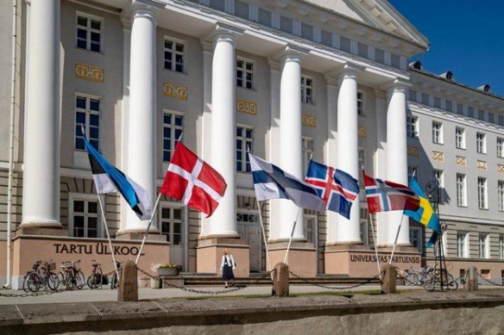 Põhjamaade lipud Tartu ülikooli eest. Foto: Põhjamaade Ministrite Nõukogu.